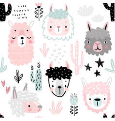 seamless pattern with cute llamas childish alpaca vector image