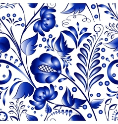 Seamless russian gzhel patterns on a white vector