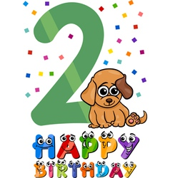 second birthday cartoon design vector image