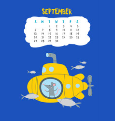 September calendar page with cute rat in travel vector
