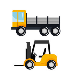 set construction vehicle transport work machine vector image