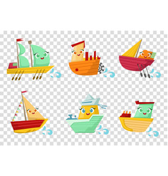 Set of colorful wooden ships with cute faces vector