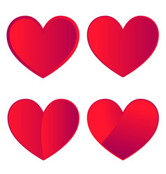 Set of four red hearts on white background vector