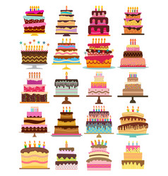 set of twenty sweet birthday cakes vector image