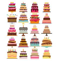 Set of twenty sweet birthday cakes vector