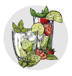 Set of two mojito cocktails vector