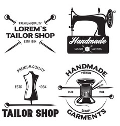 Set of vintage tailor labels emblems and designed vector