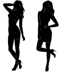 Sexy woman silhouettes in short dresses vector