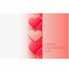 shiny valentines day beautiful hearts with space vector image