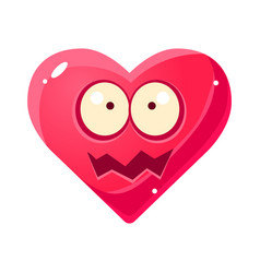 shocked ans shaken emoji pink heart emotional vector image