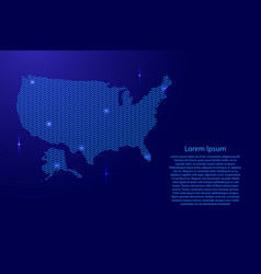 silhouette of usa country from wavy blue space vector image