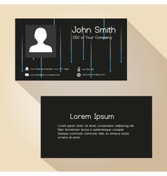 Simple dark abstract lights stripes business card vector