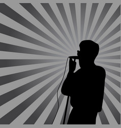 Singer in silhouette with ray on background for vector