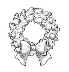 sketch of christmas wreath vector image