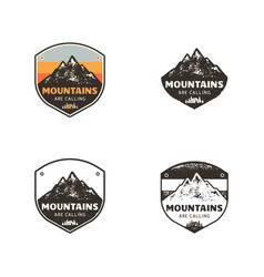 ski club mountains explorer labels vintage hand vector image