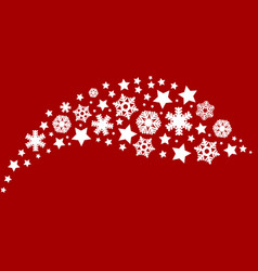 snowflakes on a red background decoration vector image