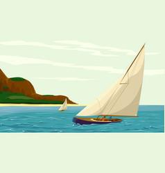 Sport sail yacht against island vector