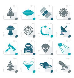 Stylized astronautics space and universe icons vector