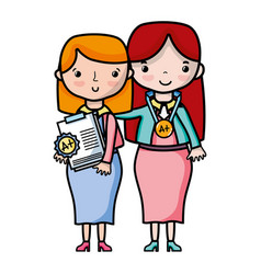 teacher with student to class education lesson vector image