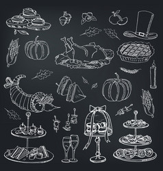 thanksgiving day menu doodle icons vector image