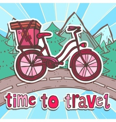 Travel poster with bicycle vector