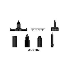 United states austin flat travel skyline set vector