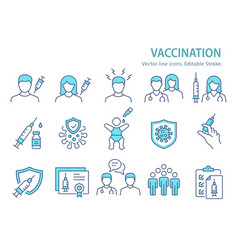 vaccine icon set collection injection syringe vector image