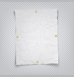 white crumpled sheet paper holding buttons on a vector image