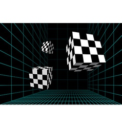 Wired room with checkered cubes vector