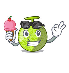 with ice cream fresh organic melon in the cartoon vector image