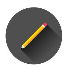 wooden pencil with rubber eraser icon in flat vector image