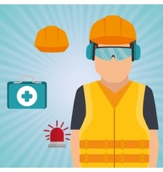 worker kit aid helmet icon vector image