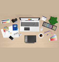 workplace of office worker designer vector image