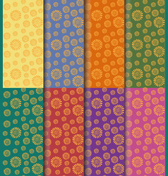 yellow flower pattern seamless set on colorful vector image