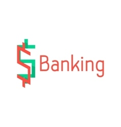 banking logotype with red and green abstract sign vector image vector image