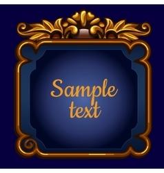 Golden surround frame on a blue background vector image