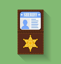 Icon of Sheriff Badge With Id Case holder Flat vector image