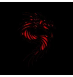 Tattoo red dragon black background vector image