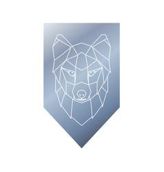 Arctic fox polygonal head sign vector