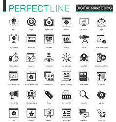 black classic digital marketing web icons set vector image vector image