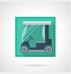 Blue golf car flat square icon vector