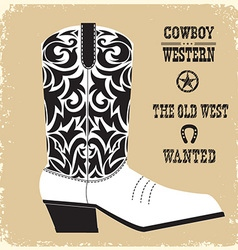 Cowboy boot isolated for design vector image vector image