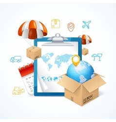 Delivery Concept With Icons Around vector image vector image