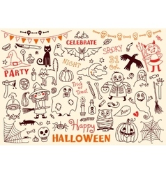 Halloween Set of Design Elements vector image