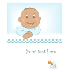 Happy African baby boy arrival announcement vector image