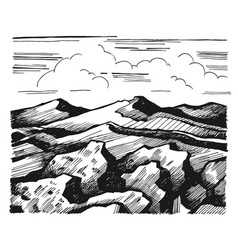 mountains and rock against the sky with clouds vector image vector image