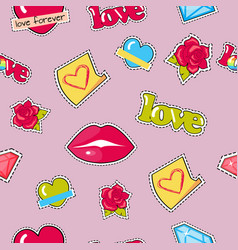 seamless pattern with lips roses hearts diamond vector image vector image