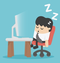 businessman sleep at his office vector image vector image