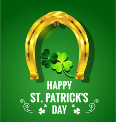 gold horseshoe with shamrock for st patricks day vector image vector image