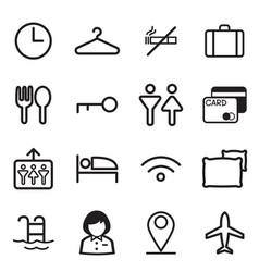 hotel hostel motel icons symbol vector image